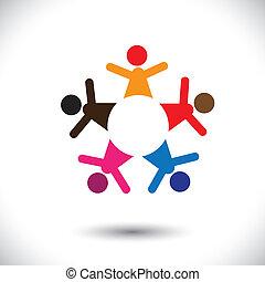 barwny, ludzie, abstrakcyjny, graphi, ring-, wektor, piątka, ikony, szczęśliwy