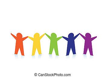 barwny, ludzie, abstrakcyjny, papier, odizolowany, biały