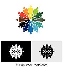 barwny, ludzie, abstrakcyjny, razem, wektor, dzierżawa wręcza, logo, ikona