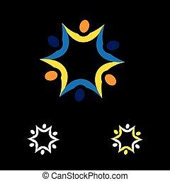 barwny, ludzie, abstrakcyjny, razem, wektor, związany, logo, ikona