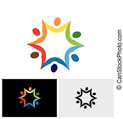 barwny, ludzie, abstrakcyjny, wektor, związany, razem., logo, ikona