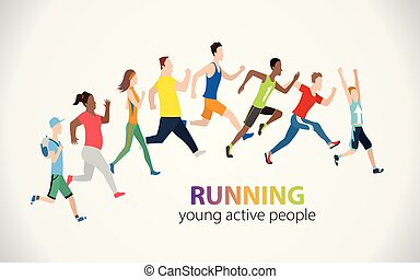 barwny, ludzie, afisz, ilustracja, wyścigi, wektor, maraton