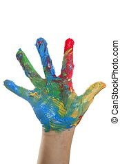barwny, na, barwiony, dzieci, ręka, biały