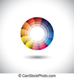 barwny, nowoczesny, jasny, wektor, modny, koło, ikona