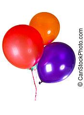 barwny, ozdoba, multicolor, urodzinowa partia, balony, szczęśliwy