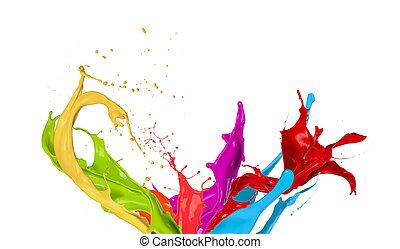 barwny, plamy, tło, odizolowany, malować, biały
