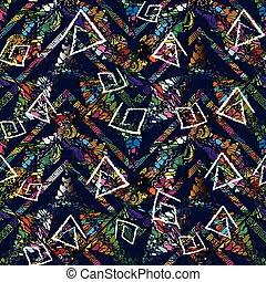 barwny, plemienny, pattern., seamless, wektor, backg, geometryczny, meandry