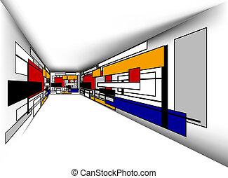 barwny, pokój, perspektywa