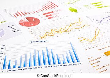 barwny, praca badawcza, wykresy, wykresy, handel, handlowy, roczny