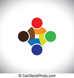 barwny, pracujący, &, ludzie, symbolika, projektować, drużyna, kooperując