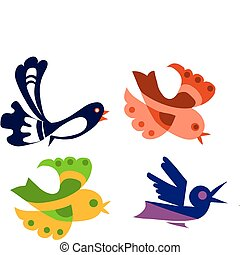 barwny, ptaszki, ilustracja, odizolowany, komplet, obiekt, wektor