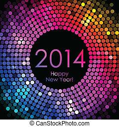 barwny, rok, -, nowy, 2014, szczęśliwy