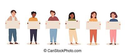 barwny, rozmaity, dzieci, rysunek, placard., płaski, dzieciaki, nastolatki, dzierżawa, protesting., prąd, banner., zmieszać, style., wektor, grupa, multiethnic, czysty, illustration.