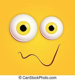 barwny, rysunek, oczy, ilustracja, monster., sprytny, odizolowany, twarz, uśmiechanie się, żółty, expression., tło., wektor, zabawny, smiley