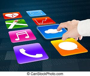barwny, spoinowanie, ikony, app, obliczanie, palec, chmura