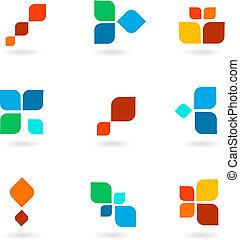 barwny, symbolika, ilustracja, komplet, wektor, sześć