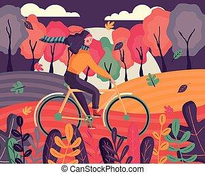 barwny, tło, szczęśliwy, las, rower, jesień, dookoła, wind., liście, młody, scene., przelotny, illustration., kobieta, wektor, jeżdżenie, odzież, wieczorny, płaski, ubrany