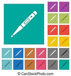 barwny, termometr, cyfrowy, ikony, multi, płaski, skwer