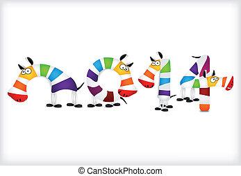 barwny, wektor, zebra, rok, nowy, horses.
