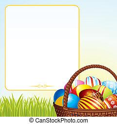 barwny, wiklina, jaja, tło., basket., wielkanoc