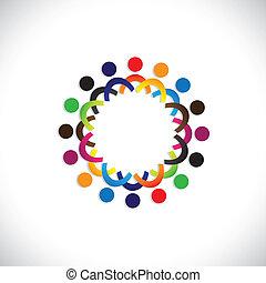 barwny, współposiadanie, pojęcia, interpretacja, przyjaźń, pracownik, ludzie, towarzyski, widać, wektor, &, zjednoczenia, rozmaitość, dzielenie, icons(symbols)., dzieciaki, pracownik, ilustracja, graphic-, podobny, pojęcie, etc