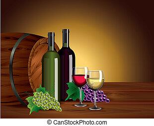 baryłka, okulary, butelki, winogrona, wino