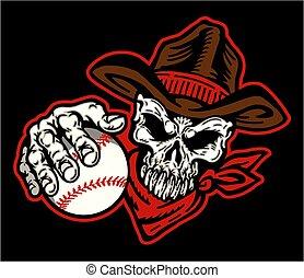 baseball, czaszka, kowboj