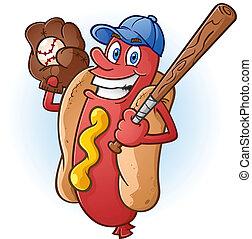 baseball, gorący, litera, pies, rysunek