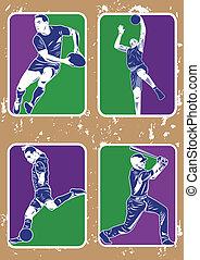 baseball, koszykówka, piłka nożna, rugby