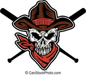 baseball, kowboj, maskotka, czaszka