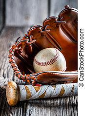 baseballowy gacek, piłka, stary, rękawiczka