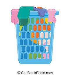 basket?, wektor, pralnia, białe tło