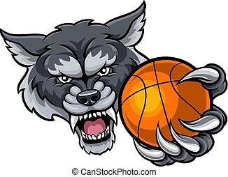 basketball piłka, wilk, dzierżawa, maskotka