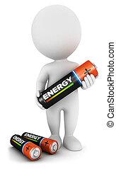 bateria, biały, 3d, ludzie