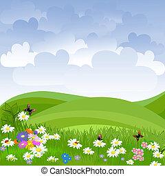 batyst, kwiaty, krajobraz