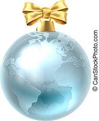 bauble, światowa kula, boże narodzenie, ziemia