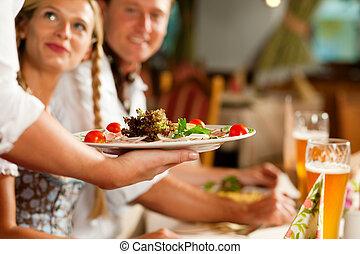 bawarka, służąc, kelnerka, restauracja