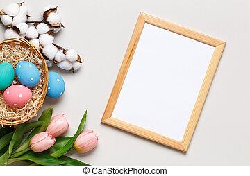 bawełna, szary, easter., gałąź, płaski, wielobarwny, pieśń, tło., ułożyć, powitanie, tulipany, space., karta, szczęśliwy, kosz, kopia, jaja