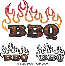 bbq, płomienie, grafika