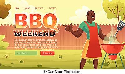bbq, strona, rysunek, piknik, lato, weekend, lądowanie
