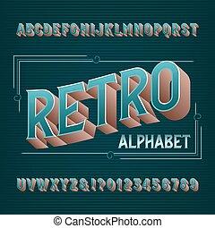 beletrystyka, alfabet, numbers., retro, font., rocznik wina, 3d