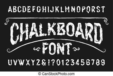beletrystyka, handwritten, font., retro, numbers., alfabet, chalkboard