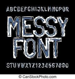 beletrystyka, zakłopotany, alfabet, numbers., font., brudny, typ