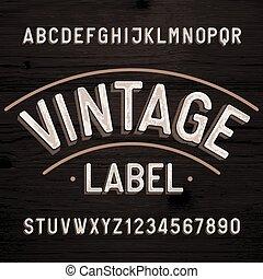 beletrystyka, zakłopotany, rocznik wina, etykieta, numbers., retro, font., alfabet