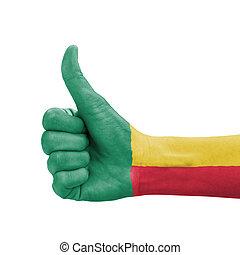 benin, doskonałość, symbol, do góry, kciuk, bandera, ręka, barwiony