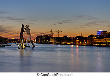 berlin, zachód słońca