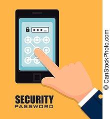 bezpieczeństwo, cyfrowy, design.