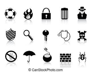 bezpieczeństwo, komplet, czarnoskóry, ikona