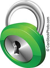 bezpieczeństwo, połyskujący, ilustracja, wektor, kłódka, zielony, błyszczący