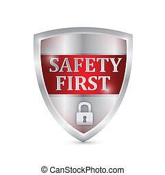 bezpieczeństwo, projektować, tarcza, ilustracja, pierwszy